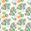 Colorful Seamless pattern with succulents plants, pebble stones,branches and more