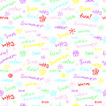 Colorful seamless pattern with words and doodles: summer, sun, fun and others. Cute contrasting multicolored background. Vector