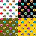 Colorful Seamless Sheep Pattern Royalty Free Stock Images