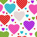 Colorful seamless valentine pattern vivid with hearts and diagonal strips vector eps Royalty Free Stock Photo