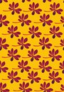 Seamless vector pattern with rows of purple tropical flowers on yellow background Royalty Free Stock Photo