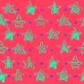 Colorful seamless vector pattern with stars, sketch styles, vector illustration, hand drawing