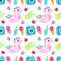 Watercolor seamless pattern with ice cream on a black