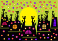 Colorful seasonal picture spring illustration cats silhouettes houses flowers Stock Photo
