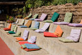 Colorful seating pillows for event Stock Photo