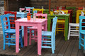 Colorful seats and tables in a garden restaurant at lake constance germany Stock Photo