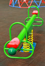 Colorful seesaw in park