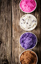 Colorful selection of Italian ice cream tubs Royalty Free Stock Photo
