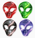 Colorful set of alien heads Stock Photo