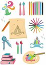 Colorful set of art supplies Stock Images