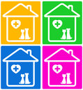 Colorful set background veterinary symbol pet silhouette Stock Photo