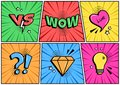 Colorful set of comic icon with different speesh elements in pop art style. Vector