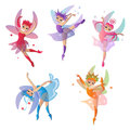 Colorful Set Of Cute Girly Fairies Pretty Dresses Royalty Free Stock Photo