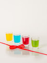 Colorful set of drinks, color drink,red, yellow blue, green, col Royalty Free Stock Photo