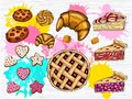 Colorful set of fresh pastries. Hearts stars cookies, cake, homemade chocolate cookies, circle pie, croissant.