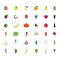 Colorful set fruits and vegatables icons on white