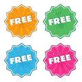 Colorful set of label with white inscription FREE. Round stickers in pop art style. Vector