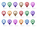 Colorful Set of Location, Places, Travel and Destination Pin Icons Royalty Free Stock Photo