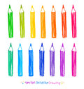 Colorful set of pencils Royalty Free Stock Photo