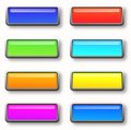 Colorful set of rectangle horizontal shiny banner buttons illustration Stock Images