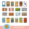 Colorful set of rectangle shape objects. Visual dictionary