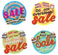 Colorful set of sale Tags with alarms. Vector illustration.