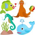 A colorful set of sealife Royalty Free Stock Photography
