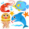 A colorful set of sealife Royalty Free Stock Photos