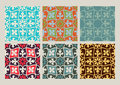 Colorful set of seamless floral patterns vintage backgrounds Royalty Free Stock Photo