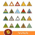 Colorful set of triangle shape objects. Visual dictionary