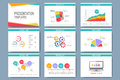 Colorful set of vector templates for multipurpose presentation slides. Modern business flat design with graphs and chart