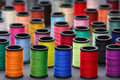 Colorful Sewing Thread Bobbin Front View Stock Photos