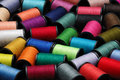 Colorful Sewing Thread Bobbin Side View Stock Photography