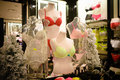 Colorful sexy lingerie mannequins wearing in store display Stock Photo