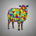 Colorful sheep. Vector illustration in polygonal style. Low poly goat. Forest animal on white background.