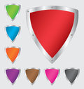 Colorful shield set in different colors vector illustration eps Royalty Free Stock Image