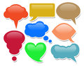 Colorful shiny dialogue bubbles on white background Royalty Free Stock Photos