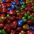 Colorful shiny reflective hearts heap cluster pool of d rendering red blue green yellow Royalty Free Stock Photo