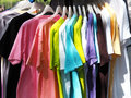 Colorful shirt rack on clothes hanger