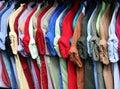 Colorful shirt rack on hanger