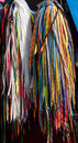 Colorful shoe laces hanging vendor s cart Stock Photography