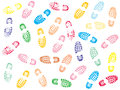 Colorful Shoe prints Stock Photos