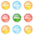 Colorful shop stickers Stock Image