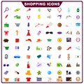 Colorful shopping icon vector illustration of complete set of Royalty Free Stock Photos