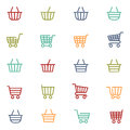 Colorful shopping thin line baskets