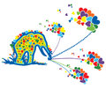 Colorful showers of love by an elephant Royalty Free Stock Photo