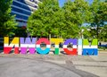 A colorful sign that spells Midtown in Atlanta Georgia Royalty Free Stock Photo