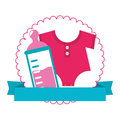 Colorful silhouette with baby bottle and baby clothes in circle with ribbon