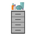 colorful silhouette with chest of drawers and make up Royalty Free Stock Photo