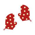 Colorful silhouette dotted kitchen gloves